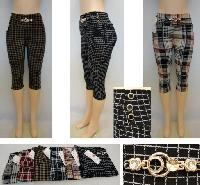 Ladies Fashion Stretch Capris [Plaid]